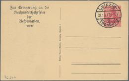 Thematik: Luther: 1917 Deutsches Reich Privatpostkarte 10 Pf Rot Abb. Lutherdenkmal Zur 400-Jahrfeie - Theologians