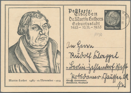 "Thematik: Luther: 1933 DR 6 Pf. Hindenburg GSK M.vs. Abb. ""Martin Luther"" U. Masch.-SST ""Eisleben Dr - Theologians"