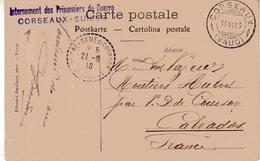 """SUISSE : GUERRE . CP . D'UN PG INTERNE A """" CORSEAUX """" . ( VAUD )  .1916 . - Briefe U. Dokumente"""