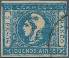 Argentinien - Provinzen: Buenos Aires: 1862, Liberty Head 2 Pesos Blue, Clear Double Print In Upper - Buenos Aires (1858-1864)