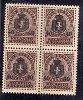 ITALY KINGDOM ITALIA REGNO 1945 LUOGOTENENZA RECAPITO AUTORIZZATO CENT.40 SU 10 MNH QUARTINA BLOCK - 5. 1944-46 Lieutenance & Umberto II