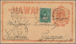 Hawaii - Ganzsachen: 1893/99, Two Stationery Cards Uprated Used Honolulu To Europe: Orange Card Resp - Hawai