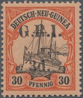 """Neuguinea - Australische Besetzung 1914/1915: 1914-15 """"G.R.I./3d."""" On 30pf. Black & Orange/buff, Wit - Colonie: Nouvelle Guinée"""