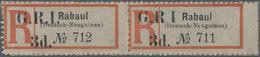 """Neuguinea - Australische Besetzung 1914/1915: 1914 Rabaul Registration Label Surcharged """"G.R.I./3d."""" - Colonie: Nouvelle Guinée"""