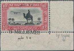 "Sudan: 1935 AIR 15m. On 10m. Black & Carmine, Bottom Right Corner Stamp, Showing Variety ""OVERPRINT - Soedan (1954-...)"