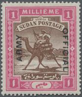 Sudan - Dienstmarken Militär: 1905 Army Service 1m. Brown & Pink, Wmk Quatrefoil, Showing Ovpt. Vari - Soedan (1954-...)