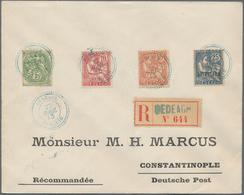 Französische Postdampfer-Agenturen: Dedeagatsch: 1913, 5c.-8pi. On 2fr., Complete Set Of Seven Value - Dedeagh (1893-1914)