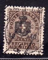 ITALIA REGNO ITALY KINGDOM 1945 LUOGOTENENZA RECAPITO AUTORIZZATO CENT. 40 SU 10c USATO USED OBLITERE' - 5. 1944-46 Lieutenance & Umberto II