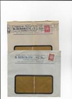 PARIS  Lot De 2 Enveloppes Avec Timbre Pétain Perforé En 1941 Et 1942 - Marcophilie (Lettres)