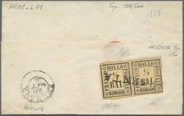 Italien - Altitalienische Staaten: Romagna: 1859, 1/2 Baj, Horizontal Pair, Tied By One Liner ARGENT - Romagne
