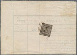 Italien - Altitalienische Staaten: Romagna: 1859, 1 Baj Brown Grey, Tied To Printed Pricelist, Signe - Romagne
