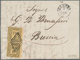 Italien - Altitalienische Staaten: Romagna: 1859, 2 Baj Yellow Orange, Vertical Pair, Extremely Wide - Romagne