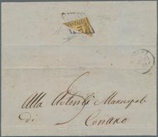Italien - Altitalienische Staaten: Romagna: 1859, 2 Baj Orange Yellow, Diagonal BISECTED, Used As 1 - Romagne