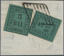 Italien - Altitalienische Staaten: Romagna: 1859, 3 Baj Black On Dark Green, Two Singles, Both With - Romagne