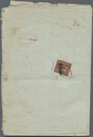 Italien - Altitalienische Staaten: Romagna: 1859, 4 Baj. Black On Reddish Brown, Three Large Margins - Romagne