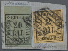 Italien - Altitalienische Staaten: Romagna: 1859, 20 Baj. Bluish Green And 2 Baj. Orange Yellow, Bot - Romagne