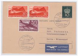 Lichtenstein (003786) Ganzsache Mit Zusatzfrankatur Gelaufen Als Helikopterflug Und Luftpost Nach Berlin Am 28.5.1960 - Stamped Stationery