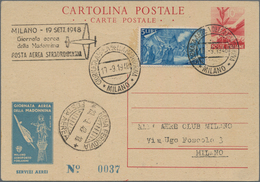 "Italien - Ganzsachen: 1948, 10 L Red Postal Stationery Card ""Democratica"", Overprinted By The Milan - 1861-78 Vittorio Emanuele II"