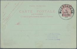 Kreta - Besonderheiten: 1902: FRANZÖSISCHE POST: Doppelkarte 10 C. Rosa Beide Teile Zusammenhgd. Geb - Kreta