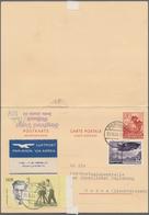 """Liechtenstein - Ganzsachen: 1940, Doppelkarte 20 Rp.+20 Rp. """"Enzian"""" Als Aufbrauchsverwendung In 196 - Stamped Stationery"""