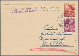Liechtenstein - Ganzsachen: 1944, 20 Rp Braunrot 'Enzian' Ganzsachenkarte Ohne Bild, Druckvermerk 'C - Stamped Stationery