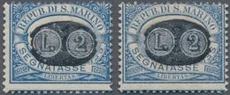 San Marino - Portomarken: 1931, Overprints, 2l. On 10c. Blue/brown And 2l. On 30c. Blue/brown, Two V - Portomarken