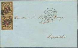 Schweiz: 1850, Rayon II 10 Rp. Schwarz/rot/gelbbraun Mit Marmoriertem Gelbdruck, Zwei Einzelmarken D - Lettres & Documents