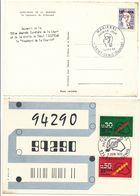 REUNION CFA CP X 2 1966 1972 1ER JOUR 10F CFA / 0,20 COCTEAU ET 15F CFA / 0,30 25F CFA: 0,50 CODE POSTAL 1ER JOUR - Brieven En Documenten