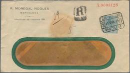 "Spanien - Ganzsachen: 1913, 31.3., 50 C. Hellblau König Alfons XIII. Privat-GS-Umschlag ""R.Monegal N - Interi Postali"