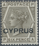 Zypern: 1880, QV 6d. Grey Plate 16 Lettered 'AP' With Opt. CYPRUS, Mint Lightly Hinged And Scarce, S - Zypern