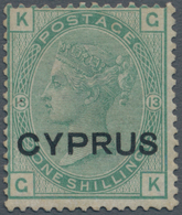 Zypern: 1880, QV 1s. Green Plate 13 Lettered 'KG' With Opt. CYPRUS, Unused Without Gum And Scarce, S - Zypern