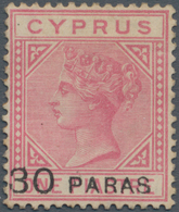 Zypern: 1882, QV 1pia. Rose Wmk. Crown CC Surcharged '30 PARAS', Mint Heavy Hinged With Some Toning - Zypern