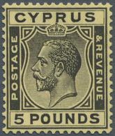 Zypern: 1924/1928, Definitives KGV £5 Black/yellow, Fresh Colour, Well Perforated, Mint Original Gum - Zypern