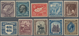Zypern: 1928, 50th Anniversary Of British Rule Complete Set Of Ten, Mint Lightly Hinged (9pia. Thinn - Zypern