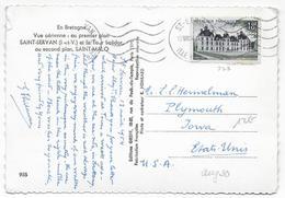 1954 - YVERT 980 SEUL Sur CARTE De ST SERVAN (ILLE ET VILAINE) => PLYMOUTH IOWA (USA) - 1921-1960: Modern Tijdperk