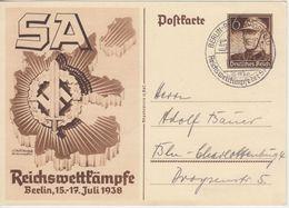 DR - 6 Pfg. Reichswettkämpfe Sonder-Ganzsache SST Berlin-Reichssportfeld 1938 - Stamped Stationery
