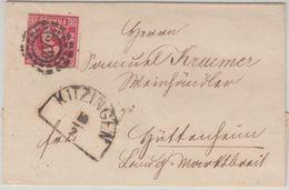 Bayern - 3 Kr. Quadrat Rot OMR 249 Kitzingen Brief N. Hüttenheim B. Marktbreit - Bavaria