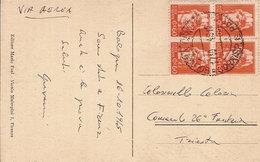 (St.Post.).Luogotenenza.1945.Quartina Del 60c Arancio Su Cartolina Da Bologna Per Trieste (c20) - 5. 1944-46 Luogotenenza & Umberto II