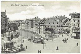 LJUBLJANA - Marijin Trg - Presernov Spomenik.- Tram - Slovenia - Yugoslavia