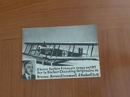 AMBERT 1er Avion Sanitaire Francais Concu Par Le DR  CHASSAING En 1917 - Cachet Croix Rouge Et Vignette (port Offert ) - War 1914-18