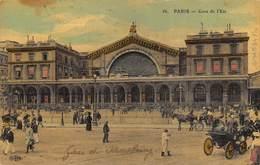 CPA  PARIS GARE DE L EST  1909  Colorisée Toilée - Metro, Estaciones