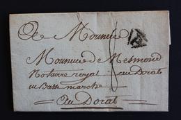 1784 LAC PARIS MARQUE P DANS UN TRIANGLE NOIR  POUR LE DORAT EN BASSE-MARCHE (HAUTE-VIENNE) TAXE MANUSCRITE 8 DECIMES. - Marcofilia (sobres)