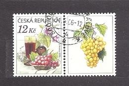 Czech Republic 2006 ⊙ Mi 462 Zf Sc 3296 Still Life With Grape, Glass Of Red Wine And Flowers.Tschechische Republik. C1 R - Tchéquie