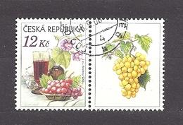 Czech Republic 2006 ⊙ Mi 462 Zf Sc 3296 Still Life With Grape, Glass Of Red Wine And Flowers.Tschechische Republik. C2 R - Tchéquie