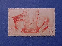 REGNO NUOVI 1941 FRATELLANZA D'ARMI CENT. 75 **  VARIETA' (S033) - 1900-44 Vittorio Emanuele III