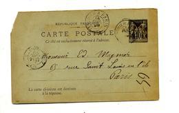Carte Postale 10 Sage Cachet Convoyeur... à Paris - Ganzsachen
