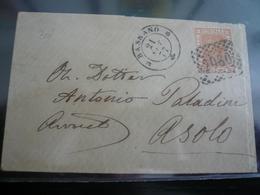 Bassano 1877 Numerale 2080 Per Asolo Timbro Arrivo - 1861-78 Vittorio Emanuele II