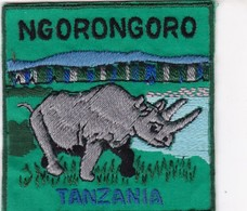 CHASSE / RESERVE / RHINOCEROS / TRES BEL ECUSSON / TANZANIE / NGORONGORO - Ecussons Tissu