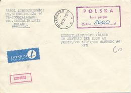 POLEN / POLAND  -  BIALOGARD  -  1989  -  Taxe Percue  1000 Zl    -  Express - Brief Nach Hamburg - Machine Stamps (ATM)
