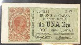 1 Lira UMBERTO I° Serie 097 15 02 1897 R2 RR Bb/spl Pressato  LOTTO 443 - [ 1] …-1946: Königreich